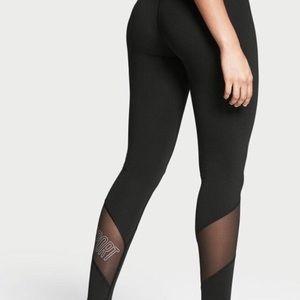 VICTORIA'S SECRET sport logo mesh black yoga pants